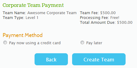 Corporate Team Payment