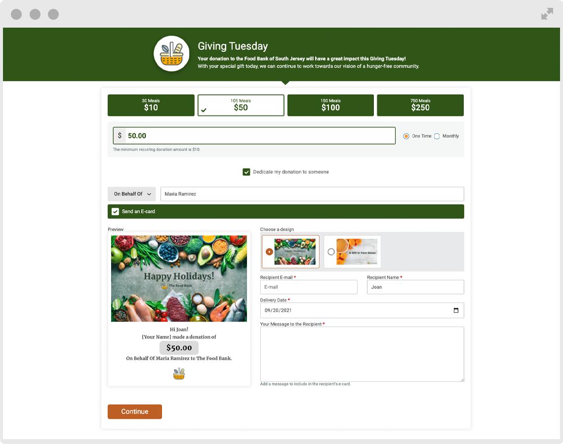 Donation form screenshot
