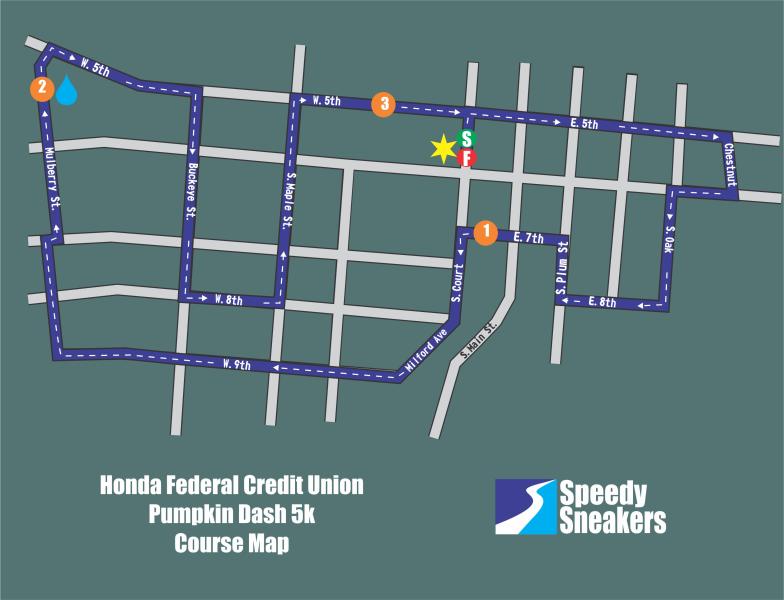Honda Federal Credit Union Pumpkin Dash 5k: 2019 Course Map