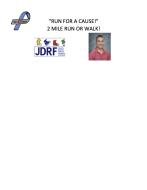 """5th  Annual """"Run For A Cause"""" 2 Mile Run or Walk for Diabetes"""