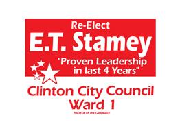 Re-Elect ET Stamey Clinton City Council