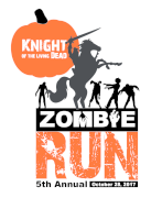 Knight of the Living Dead Zombie 5K and Kids fun run-Race Day Registration at 12:30 at Rustin Stadium