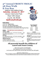 3rd Annual Frosty Frolic 5K Run Walk and 1 mile Fun Run