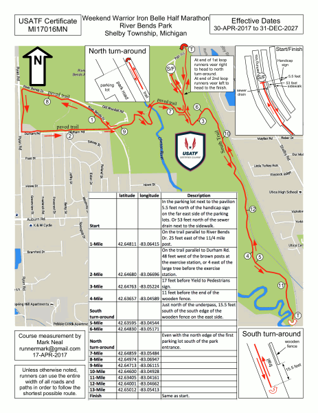 Usa Track And Field Map It Weekend Warrior Runfest TM: Half Marathon Course Map (USA Track  Usa Track And Field Map It