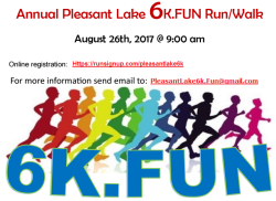 CANCELLED - Pleasant Lake 6k.FUN Run/Walk