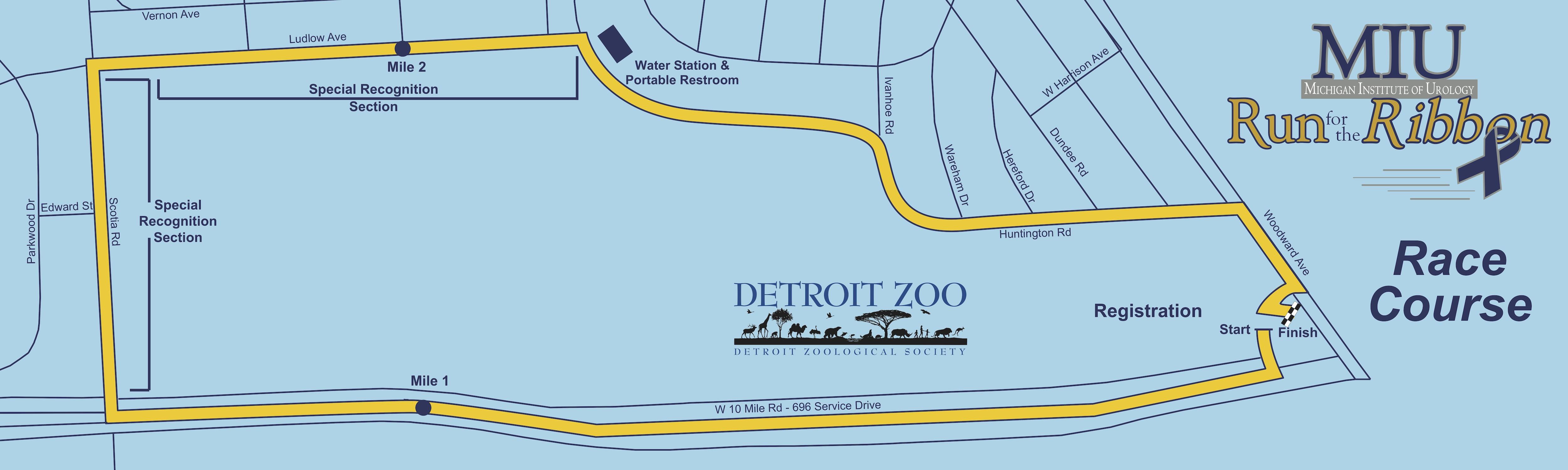 Run for the Ribbon Run/Walk Detroit Zoo Map on