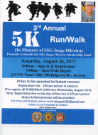 3rd Annual 5K Run/Walk (Proceeds Benefit the SSG Jorge Oliveira Scholarship Fund)