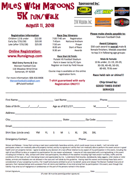 Miles With Maroons 5k Runwalk Registration Form
