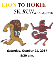LION TO HOKIE 5K RUN & 1.55 Mile Walk