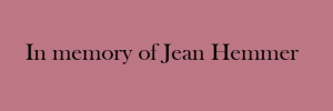 In memory of Jean Hemmer