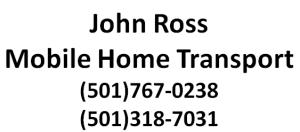 John Ross Mobile Home Transport
