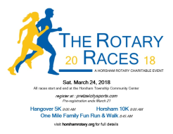 The Rotary Races: Hangover 5k...Horsham 10k...1 Mile Family Fun Run/Walk