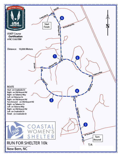 21st Annual Run For Shelter 10k Course Map