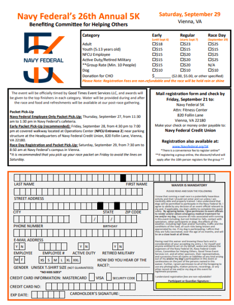 Navy Federal\'s 26th Annual 5K: Registration Form