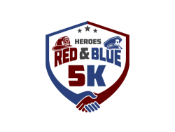 Heroes Red and Blue 5k & Super Hero Kids Dash Logo
