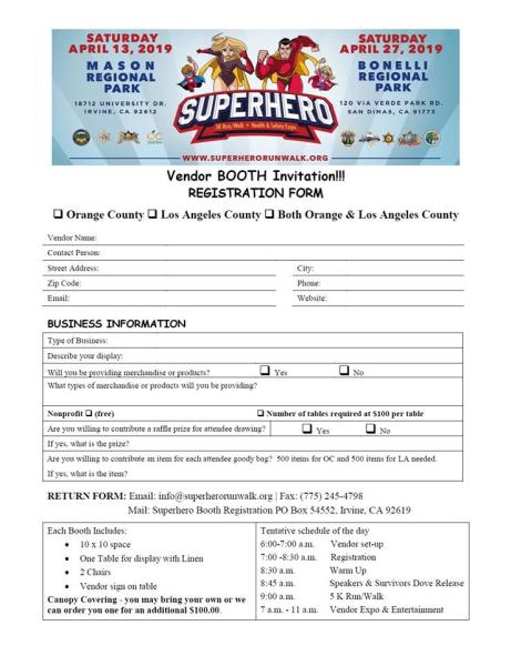 Orange County Superhero 5K Run Walk Health & Safety Expo: Vendor Form