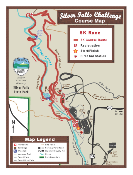 Silver Falls Challenge 5k Race Course Map