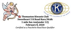 Thomaston Kiwanis Sweetheart 5K and 1 Mile Fun Run