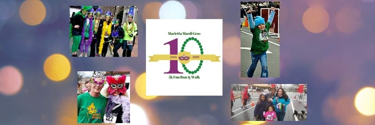 Marietta Mardi Gras 5K Fun Run + Walk Banner Image