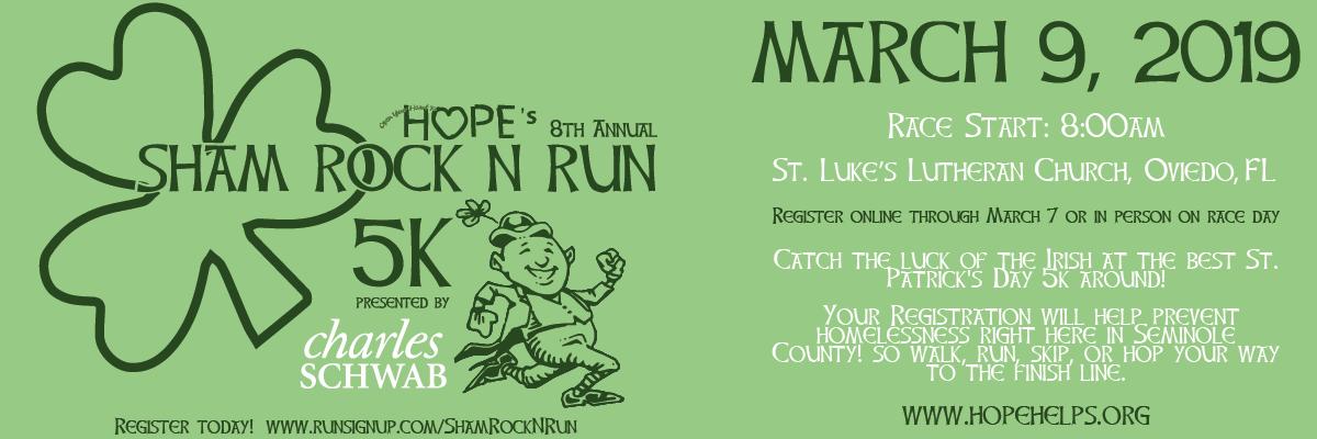 HOPE's Sham Rock N Run 5k Presented by Charles Schwab Banner Image