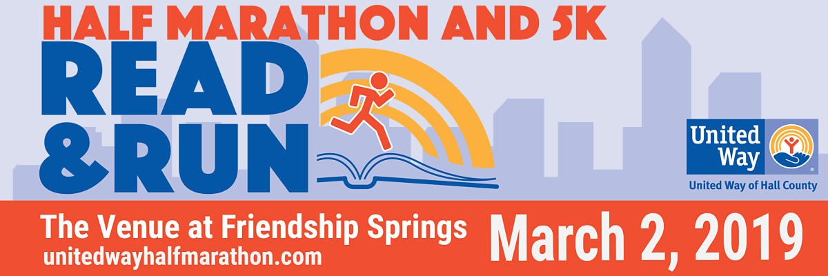 United Way of Hall County Read & Run Half Marathon and 5K Banner Image
