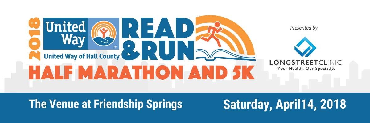 United Way of Hall County Read & Run Half Marathon, 5K & Read-a-thon Banner Image