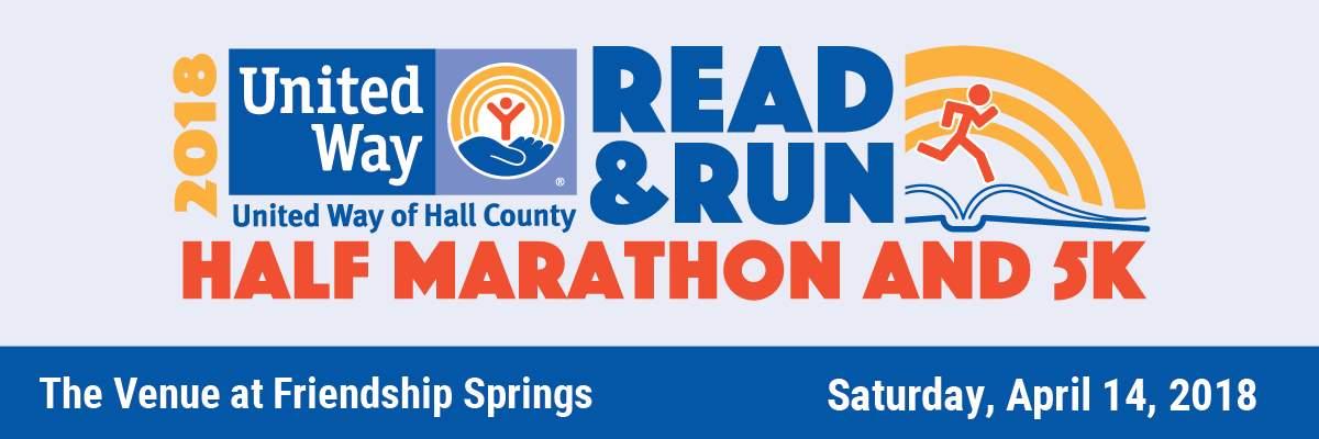 United Way of Hall County Read & Run Half Marathon, 5K & Read-a-thon Banner Image