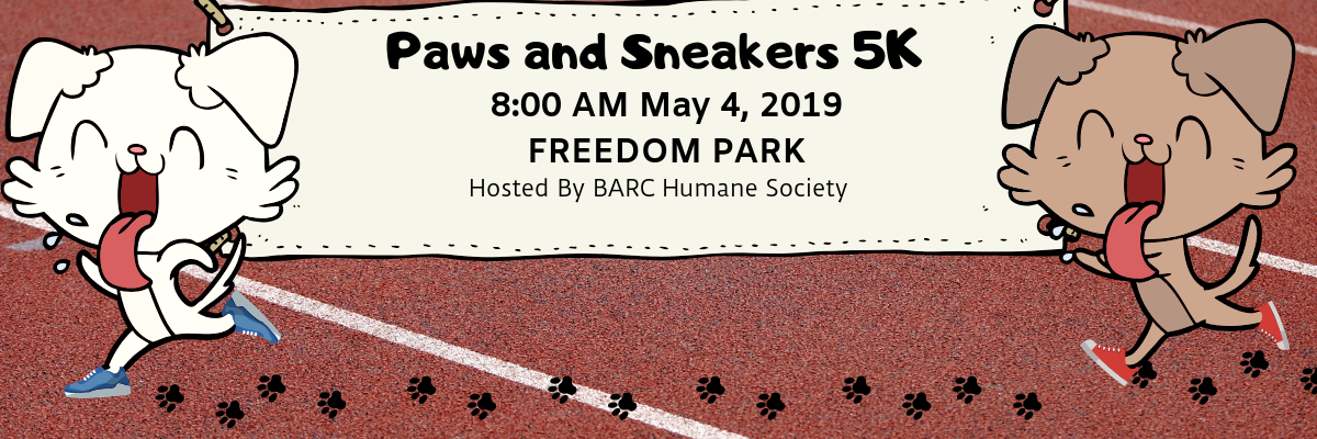 BARC Sneakers and Paws 5K Banner Image