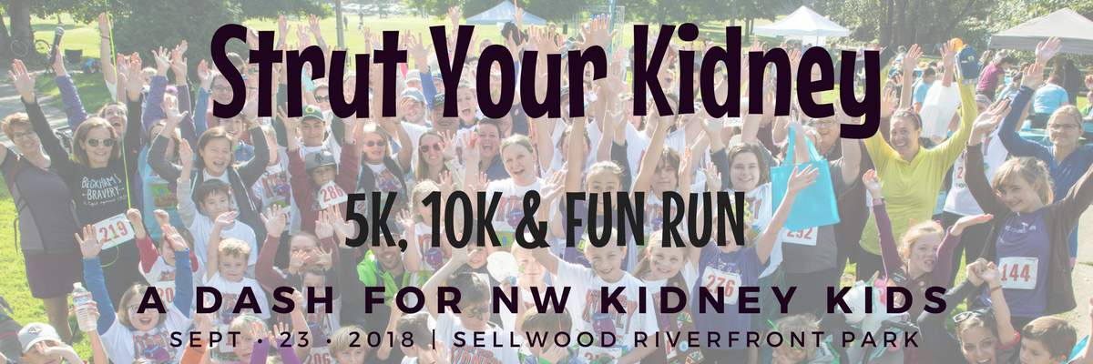 Strut Your Kidney - a dash for NW Kidney Kids Banner Image