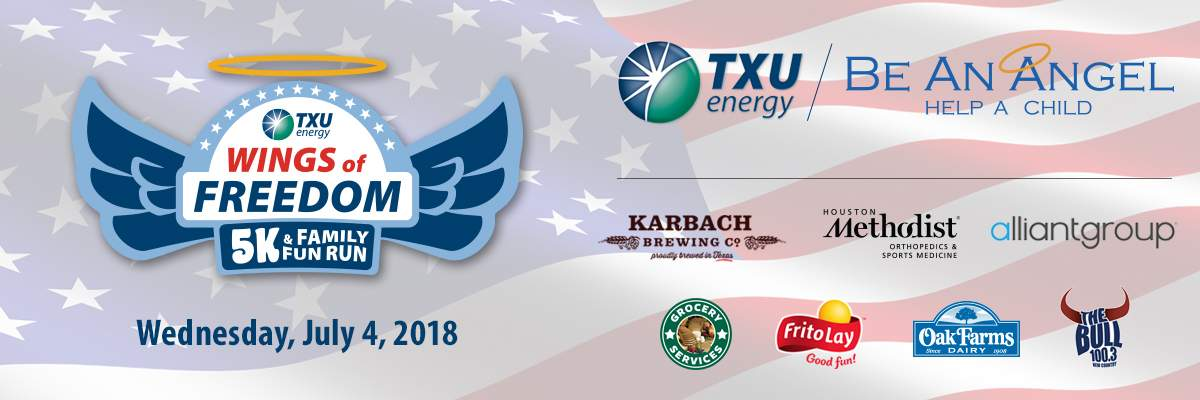 TXU Energy Wings of Freedom 5k and Family Fun Run Banner Image