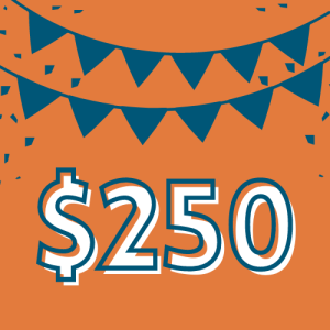 "$250 – You did it! You've qualified for our ""Run for a Penny"" program. If you would like us to refund your race entry down to a penny, simply email us at info@drumstickdash.org. Thank you championing our neighbors experiencing homelessness!"